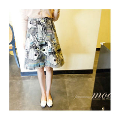 LEELIN - Pattern A-Line Skirt