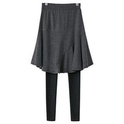 PEPER - Inset Skirt Fleece-Lined Leggings