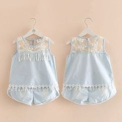 Seashells Kids - Kids Set: Lace Panel Denim Tank Top + Shorts