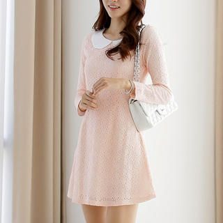JK2 - Peter Pan-Collar Lace Sheath Dress