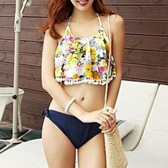 Anfory - Floral Print Frilled Halter Bikini