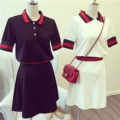 Phyllis - Set: Contrast Trim Short Sleeve Polo Shirt + Mini A-Line Skirt