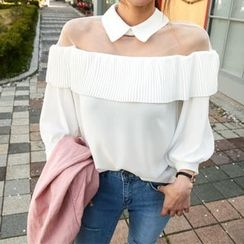 DABAGIRL - Collared Sheer-Yoke Chiffon Top