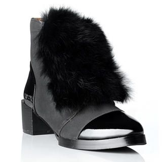 Lane172 - Faux Fur Accent Ankle Boots
