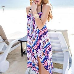 Zeta Swimwear - Set: Halter Pattern Bikini + Pattern Cover-up
