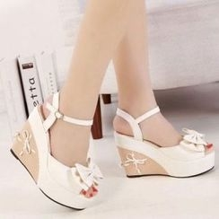 Mancienne - Bow-Accent Wedge Sandals