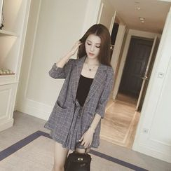 Sheeno - Set: 3/4-Sleeve Plaid Blazer + Shorts