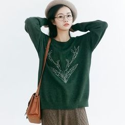 Forest Girl - Deer Print Sweater