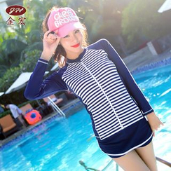 GIZZI - Set: Striped Tankini + Zip Rashguard