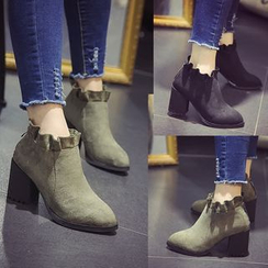 Laceuplux - Block Heel Ankle Boots