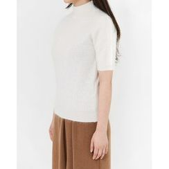 Someday, if - Mock-Neck Short-Sleeve Wool Blend Knit Top