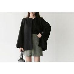 UPTOWNHOLIC - Round-Neck Wool Blend Coat