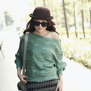 PUFII - Off-Shoulder Cable-Knit Top