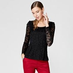 O.SA - Shirred-Sleeve Peplum Lace Top