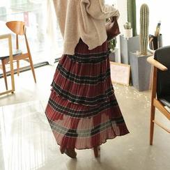 Cherryville - Tiered-Ruffle A-Line Maxi Skirt