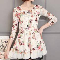 Cottony - Floral Print Lace Tunic