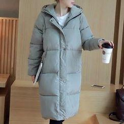 Heybabe - Plain Hooded Long Padded Coat