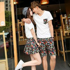 Evolu - Couple Set: V-Neck T-Shirt + Shorts / Skirt