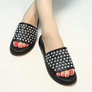 SouthBay Shoes - Studded Wedge Slide Sandals