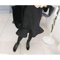 MARSHMALLOW - Ruffled-Hem Shift Dress