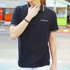 HANDA - Piped Short-Sleeve Polo Shirt
