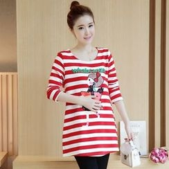Ohayo - Maternity Cartoon Print Striped Tunic