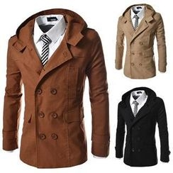 Bay Go Mall - Double-Breasted Hood Trench Coat