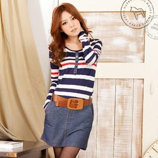 YUMI - Striped-Panel Denim Dress With Woven-Belt