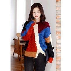 DEEPNY - Cutout-Hem Color-Block Sweater