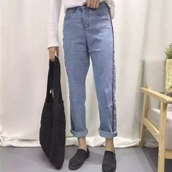 Dute - Contrast Trim Straight-Cut Jeans