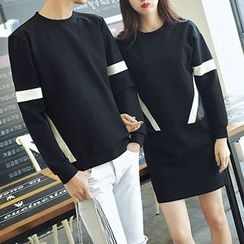 Ulysses - Couple Matching Striped Long-Sleeve T-Shirt / Striped Long-Sleeve T-Shirt Dress