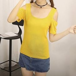 Honey House - Cutout Short Sleeve T-Shirt