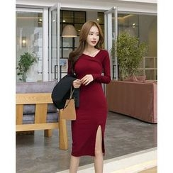 Saranghae - Ribbed V-Neck Slit Bodycon Dress