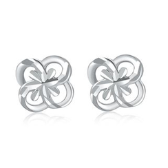 MaBelle - 14K/585 White Gold Diamond Cut Clover Stud Earrings