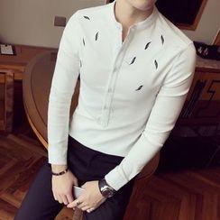Besto - Printed Band Collar Shirt