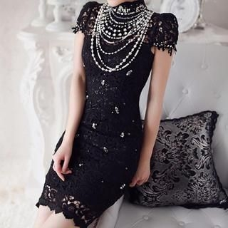 JVL - Cap-Sleeve Beaded Lace Dress