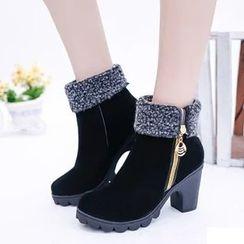 YIVIS - Zip Block Heel Short Boots