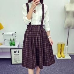 Heybabe - Check Midi Suspender Skirt