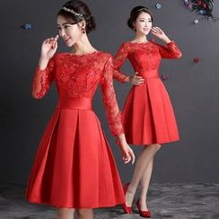 Fantasy Bride - Lace Sleeve Tie Waist Party Dress