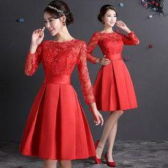 Fantasy Bride - Lace Sleeve Tie Waist Party Dress