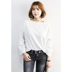 INSTYLEFIT - Boat-Neck Drop-Shoulder T-Shirt