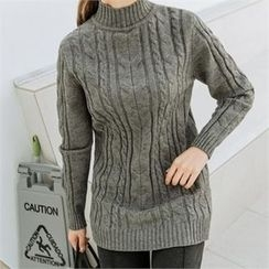 JOAMOM - Mock-Neck Cable Knit Top