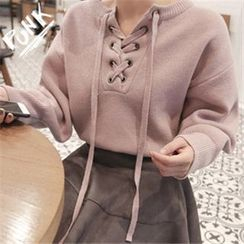 11.STREET - Lace Up Lantern Sleeve Thick Sweater