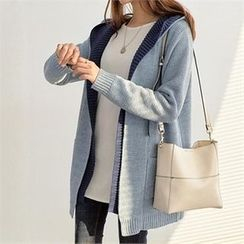 PEPER - Open-Front Contrast-Trim Hooded Cardigan