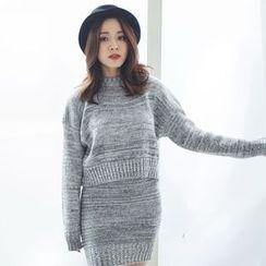 BAIMOMO - Set: Mélange Sweater + Mélange Knit Skirt
