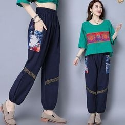 Diosa - Applique Linen Cotton Wide Leg Pants