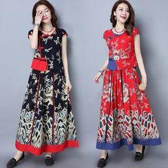 Diosa - 套裝: 印花麻布棉質短袖上衣 + 裙