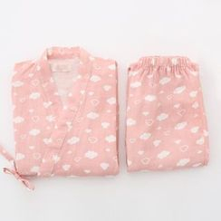 Meimei - 家居服套裝: 雲朵印花和服上衣 + 褲子