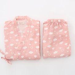 Meimei - 家居服套装: 云朵印花和服上衣 + 裤子