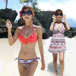 Tamtam Beach - Patterned Bikini With Dress / Printed Shorts
